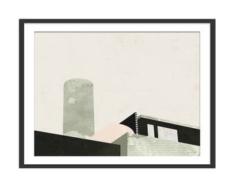 Cityscape Art Print. Abstract Cityscape. Minimal Scandinavian Style Picture by Green Lili. Wall Art. Wall Decor