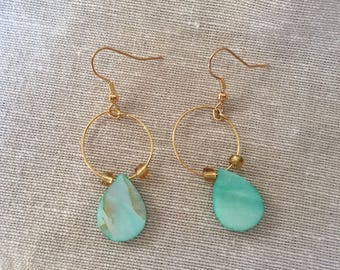 Turquoise and Gold Hoop Earrings