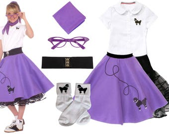 7 Pc SMALL Child 4 6 50s Poodle Skirt OUTFIT
