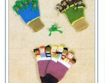 Knits and Pieces Knitting Pattern, Counting Rhymes Finger Puppet Gloves, ten in a bed, speckled frogs, monkeys , childrens gloves