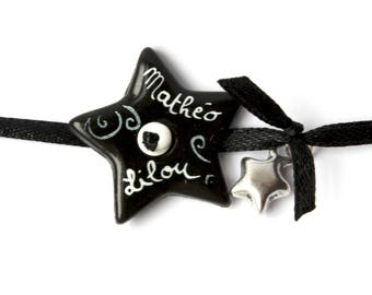 Personalized name bracelet black and White Star