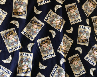 Martini vintage fabric. Dark blue logo cotton.