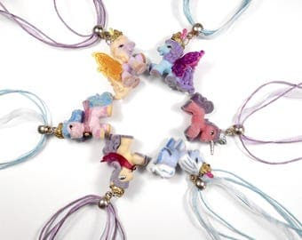 Necklace children pastel Kawaii Horn - recycling toy little pony