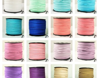 Cords 3 mm - 19 - Suede, faux leather, Faux suede - color white, green, blue, pink, purple, violet, purple, natural, Brown, black