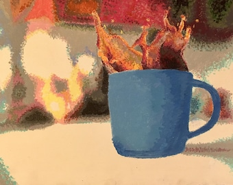 Coffee Spill Acrylic Painting