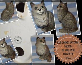 SALE - A Beswick Grey 'Swiss Roll' Persian Cat No. 1867