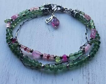 Springtime multi-strand, multi-stone bracelet. Green Apatite and pink Sapphire bracelet, pink topaz and bright pink spinel. Solid sterling