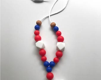 4th of July Necklace, Nursing Necklace, Teething Necklace, Independence Day, Teether, Mom necklace, Break away clasp, Silicone Beads,
