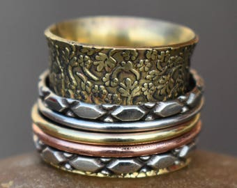 3 Tone spinner rings | 5 spinner rings band | Ethnic meditation jewelry rings | Fidget Indian jewelry | Narrow birthday gift jewelry | R216