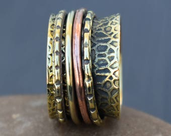 Meditation spinner jewelry rings | Ethnic boho band rings | Indian fusion ring | Tribal spinning ring | Everyday prayer jewelry ring | R225