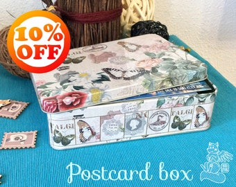 SALE 10% OFF! Beautiful tin box for postcards - Great gift for postcrossing lovers - Suitable for regular postcards - Storage metal box