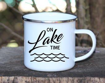 Camp Mug, Camping Cup, Enamel Mug, On Lake Time