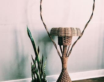SALE // Antique Standing Flower Basket / Tall Rattan Plant Holder w/ Handle / Fern Stand / Vintage Fall Decor
