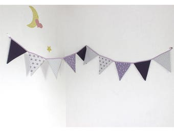 10 Bunting decoration purple tones cotton inner child and baby