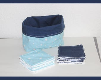 Blue basket and its 12 wipes washable 10 cm X 10 cm