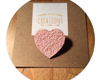"""brooch """"heart"""" canvas glitter pink glitter"""