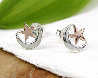 Aafa Moon and Star Earrings, Sterling Silver, Rose Gold, Star Earrings, Moon Earrings, Crescent Moon Earrings, Ramadan Gift