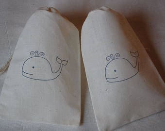 40 Cute Whale muslin cotton party favor bags 4x6 inch - great for birthday party, baby showers, goodie bags, cotton pouch, gift bags