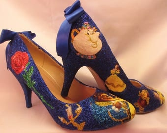 Beauty & The Beast Glitter and Decoupage Shoes