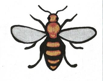 Original Metallic Hand Painted Bee Illustration