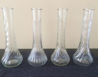Hoosier Glass Vases, Vintage Glass Bud Vases, Wedding Table Decor, Bud Vase Assortment, Set of 4, Clear 9 inch Pressed Glass Vases, PL3540