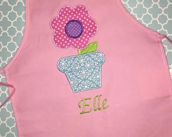 Personalized kids apron with appliqué- flower pot