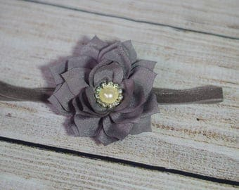 Newborn Headband - Gray Flower - Elegent - Newborn Photo Prop
