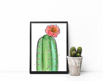 Simple Cactus Bloom - Print
