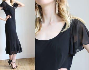 Vintage Black Flutter Sleeve Silk Dress  