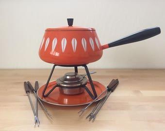 Vintage 1960s Orange Catherine Holm Fondue Lotus Pattern Set Pot Lid Burner Stand Plate Enamel Catherineholm of Norway Serveware Dinnerware