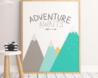 Nursery Illustration, Baby Wall Art, ADVENTURE AWAITS MINT, Nursery Decor, Baby Gift Kids Decor,Mountains nursery, Nursery print, Kids decor