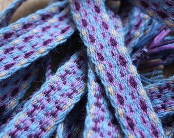 Wide tablet woven viking belt, blue & purple medieval trim, ribbon, trimmed band, larp costume accessory, boho style waist belt, reenactment