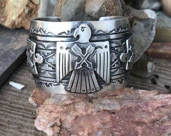 Sterling Silver Navajo Stamped Thunderbird Cuff Made By Rick Enrique