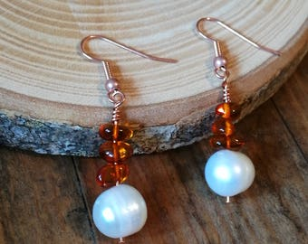 Pearl and Amber earrings, Valentine gift, rustic jewellery, pure copper ear wires