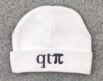 Baby beanie qt pi / cutie pie - March baby gift, Pi Day baby gift, newborn hat, preemie hat, baby hat NICU hat preemie clothes hospital hat