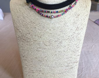 colorful african vinyl wrap chokers