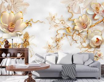 Etonnant 3D Gold Flowers 3D Wall Sticker Vinyl Stickers Wall Decor Black Cubes 3D  Mural Wall Mural
