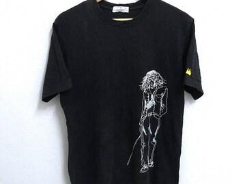RARE!!! Jean Michel Basquiat PopArt Big Logo Crew Neck Black Colour T-Shirts M Size