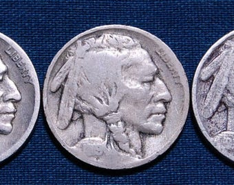 1919, 1919-D, and 1919-S Buffalo Nickels