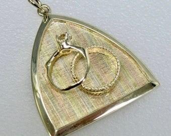 Vintage 14k Tri Color Gold Wedding Ring Pendant