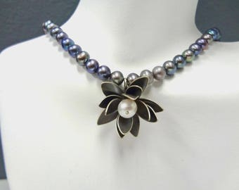 "Sterling Silver and Cultured Pearl ""Lotus Flower"" Pendant Necklace"