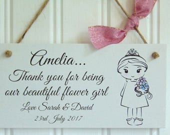 Personalised Thank you Flower Girl Plaque - Wedding Gift Sign