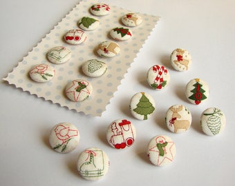 Handmade Fabric Buttons, 10 pcs, Christmas Decoration, Children's Décor, Covered Sewing Buttons, Red Green Ivory Beige, Medium Size, 17 mm