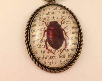 Bug bookpage pendant necklace