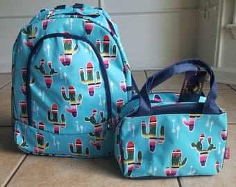 Aqua Cactus arrows backpack and lunch bag set