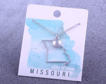 Customizable! State of Mine: Missouri Tennis Silver Necklace - Great Tennis Gift!