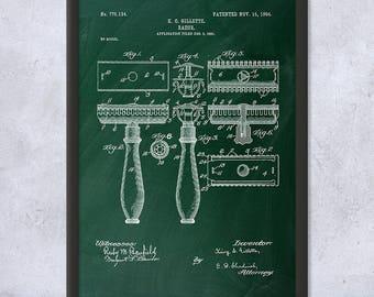 Framed Gillette Shaving Razor Patent Print Gift, Safety Razor, Barber Gift, Stylist Gift, Gillette Patent, Framed Patent Print, Home Decor