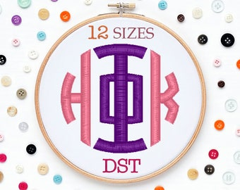 12 Sizes Greek Circle Monogram Embroidery Font DST Format Embroidery Machine,Initials Monogram,Monogram Design,Instant Download