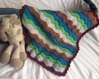 Crocheted baby blanket - baby boy crochet throw - stripy baby afghan - blue green brown laprug - crochet boy afghan - crib afghan