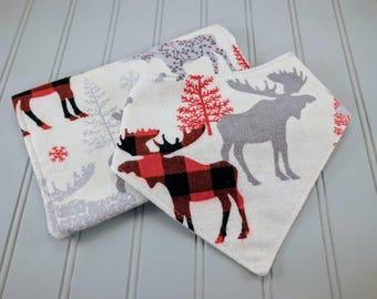 Moose bib and burp cloth | Christmas bib | Christmas Burp Cloth | Holiday Bib and Burp Cloth | Christmas Baby